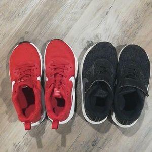 Two pair Nike boys shoes 11C